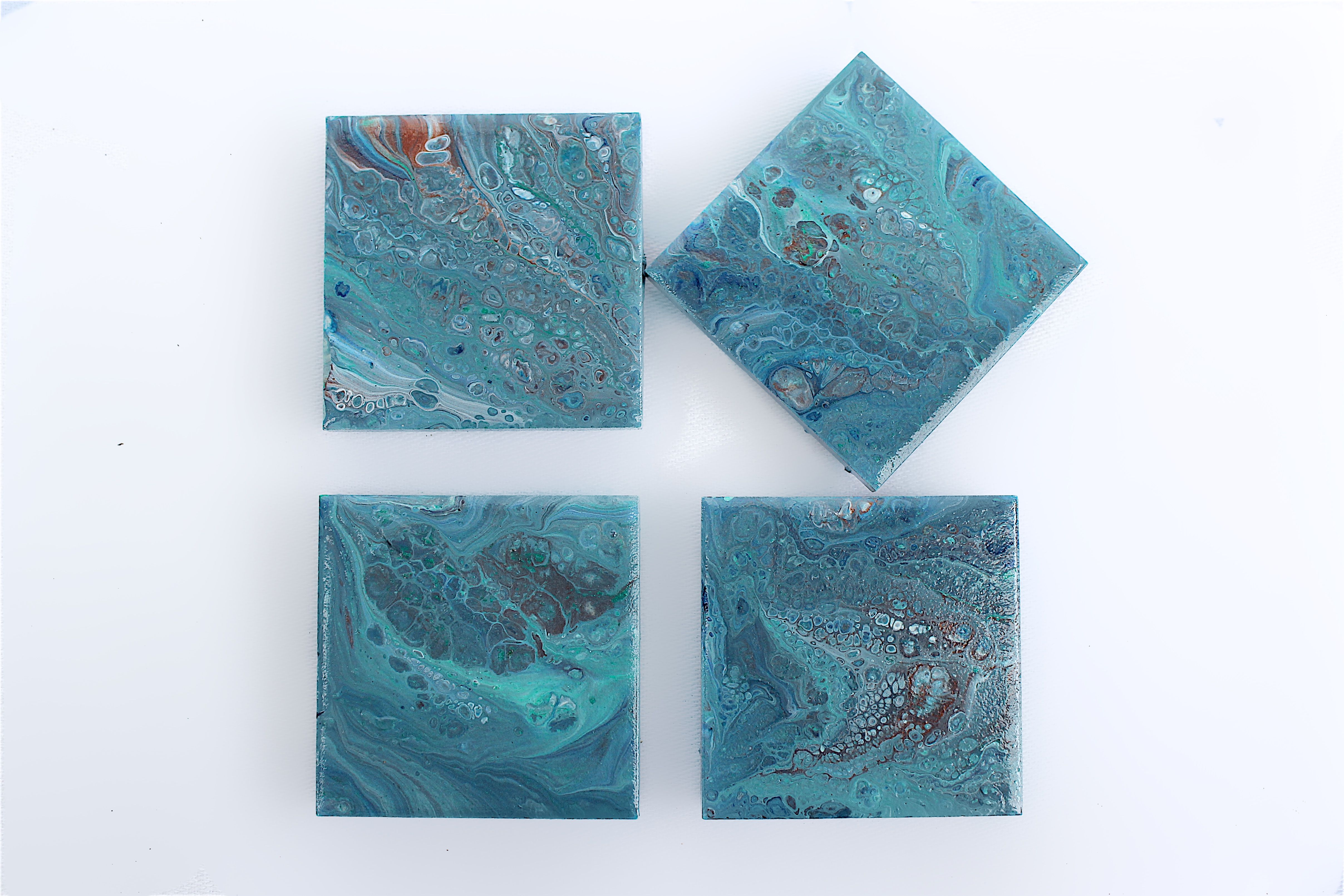 Functional Abstract Art That Can Be Enjoyed By Anyone Hand Painted Using Acrylic Pour Painting Tile Fridge Magnet Set