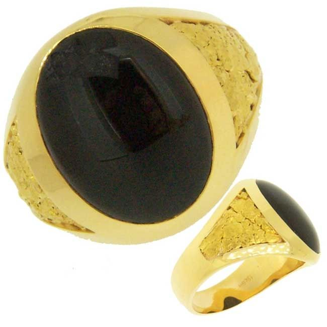 afd89aa060d43 Custom Black Onyx and Alaskan Gold Nugget Rings and Jewelry - www ...