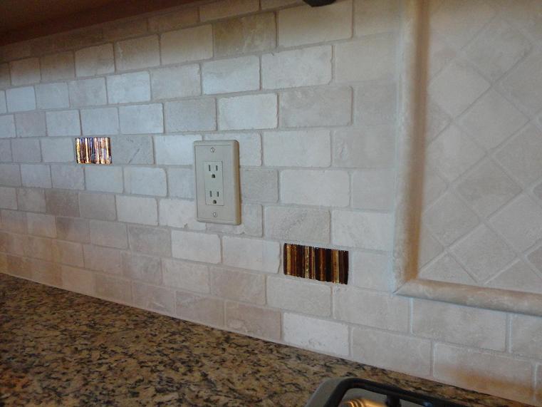 2 4 tumbled travertine offset subway back splash w glass for Tumbled glass tile