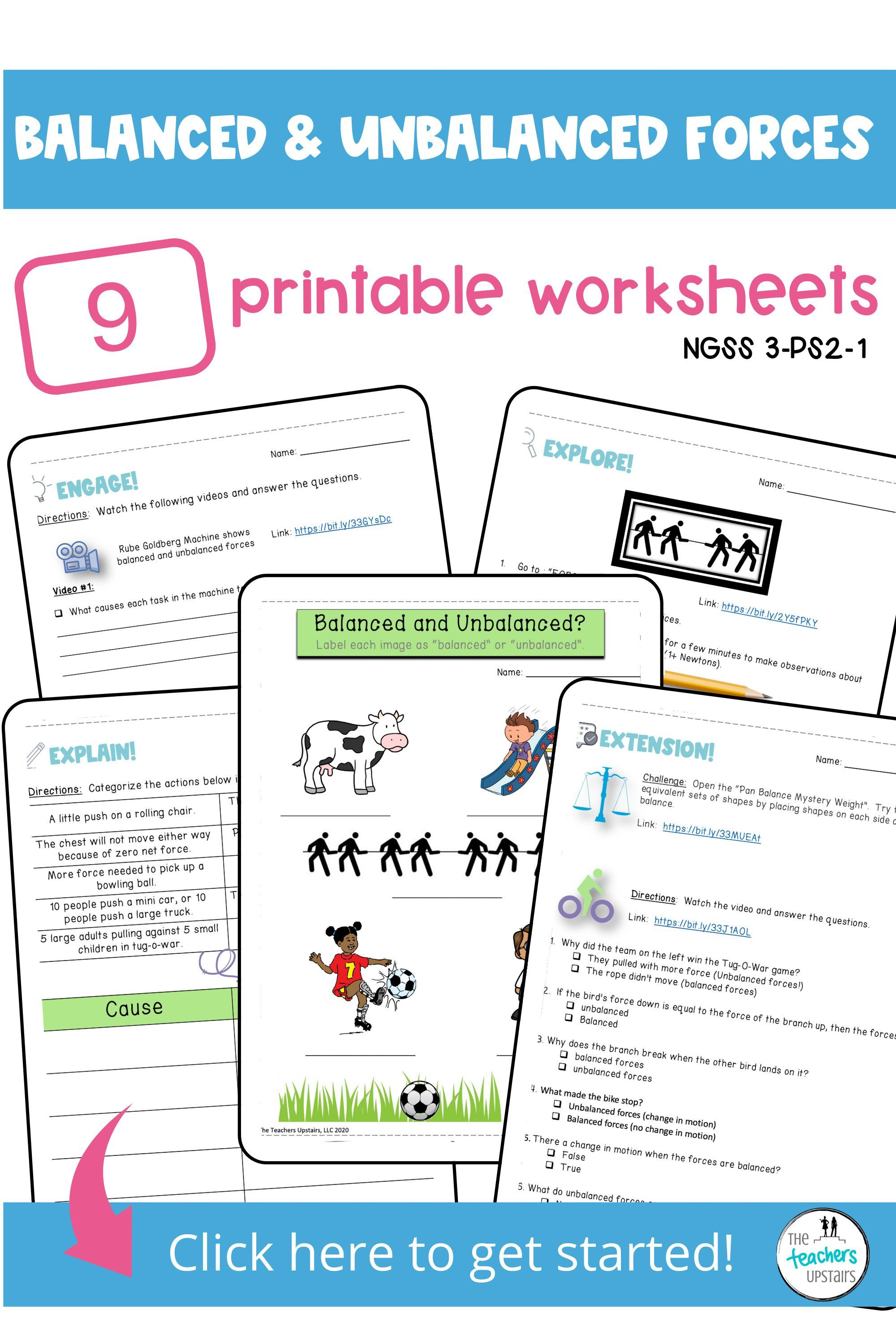 Balanced And Unbalanced Forces Worksheets With Answer Key Digital And Print Inb In 2020 Digital Interactive Notebook Special Education Resources Printable Worksheets
