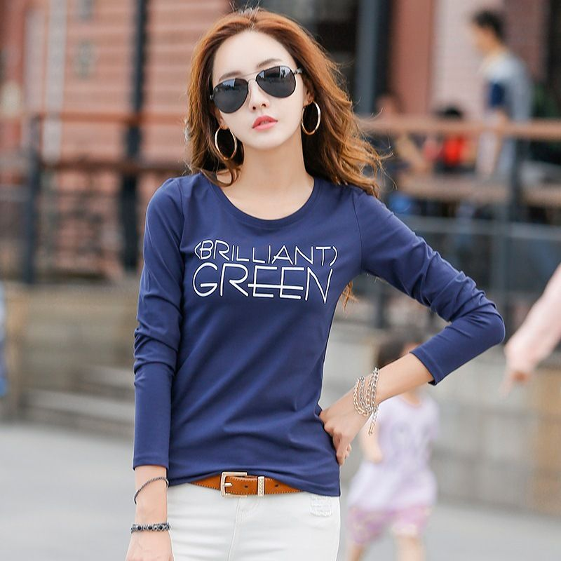 2017 New Autumn Winter Long Sleeve T Shirt Women Letter Print Fashion T-shirt For Woman Cotton Ladies Tops Tees Basic Tshirt