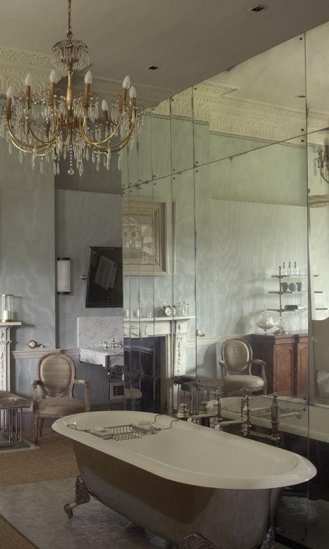 Antiqued Mirror Glass Mirror Cladding Walls Between