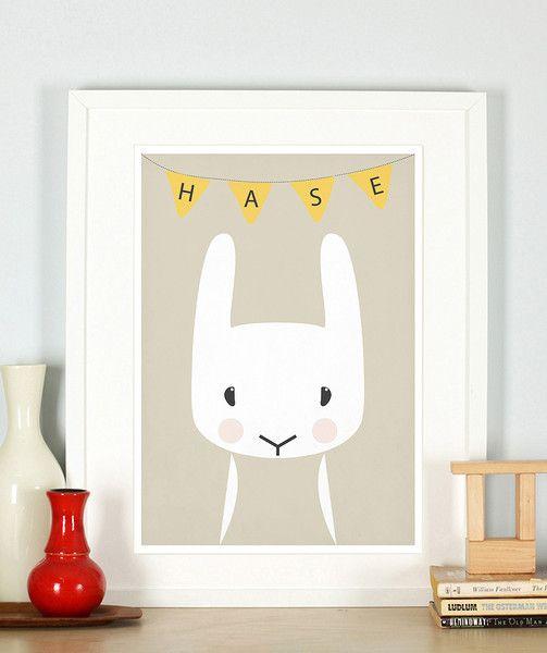 Retro Poster, Kinderzimmer, Hase, Tiere, A4 von Emugallery