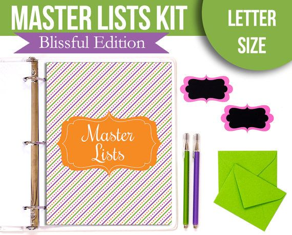 Master Lists Packet - Project Planner, Task List, Gift List, Password Tracker, etc - Instant Download - Blissful Edition