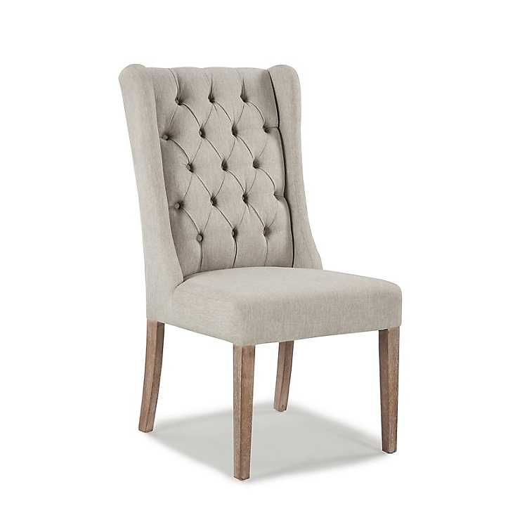 Natural Linen Tufted Wingback Dining Chair Upholstered Dining Chairs Tufted Dining Chairs Dining Furniture Makeover