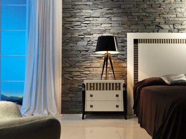 Tunnelmallinen makuuhuone tyylikkäällä tehosteseinällä. Katso kuva, niin näet tarkemmat tuotetiedot.