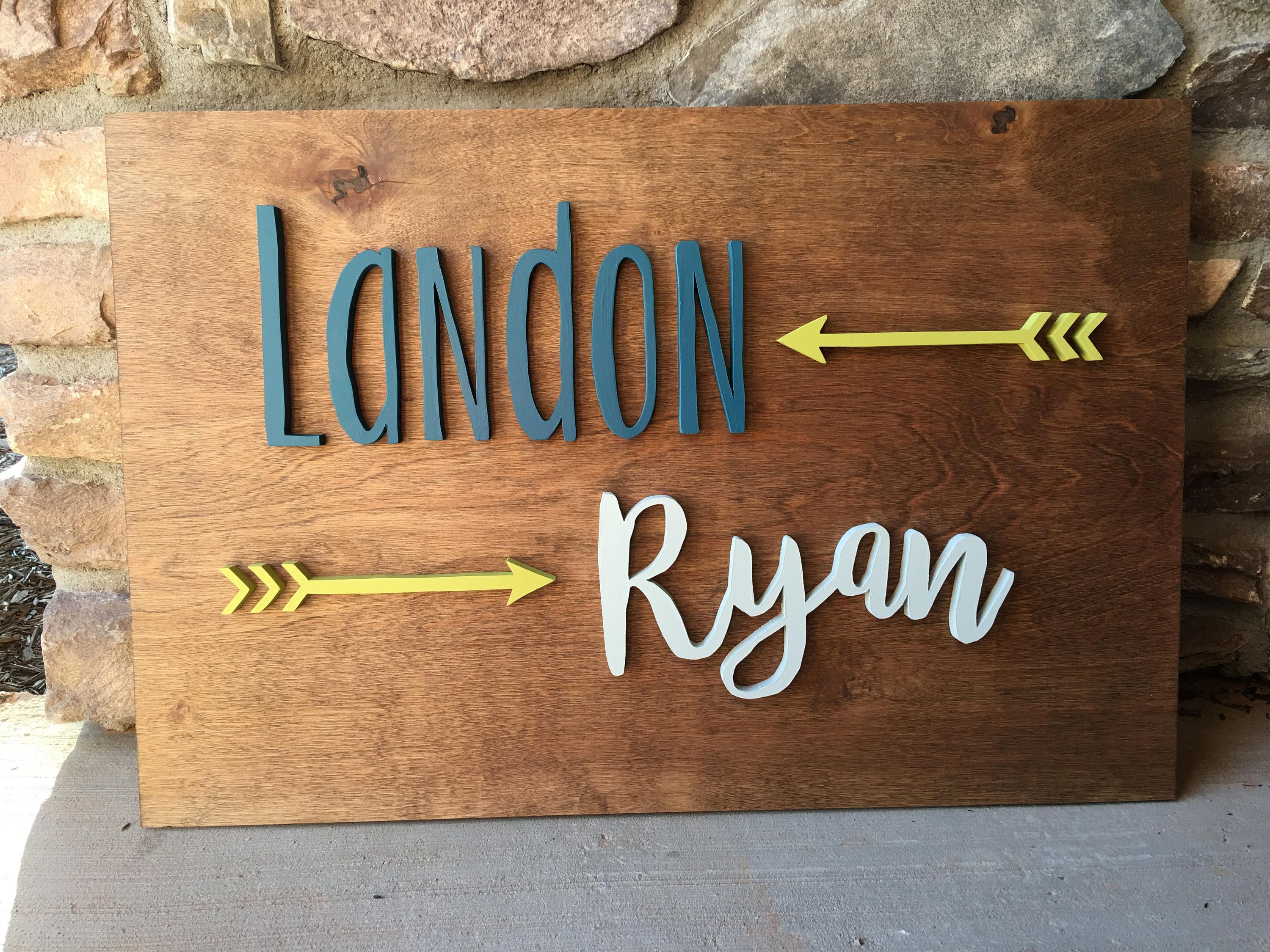 Custom Rectangle Name Sign With Arrows - Wood Nursery Name