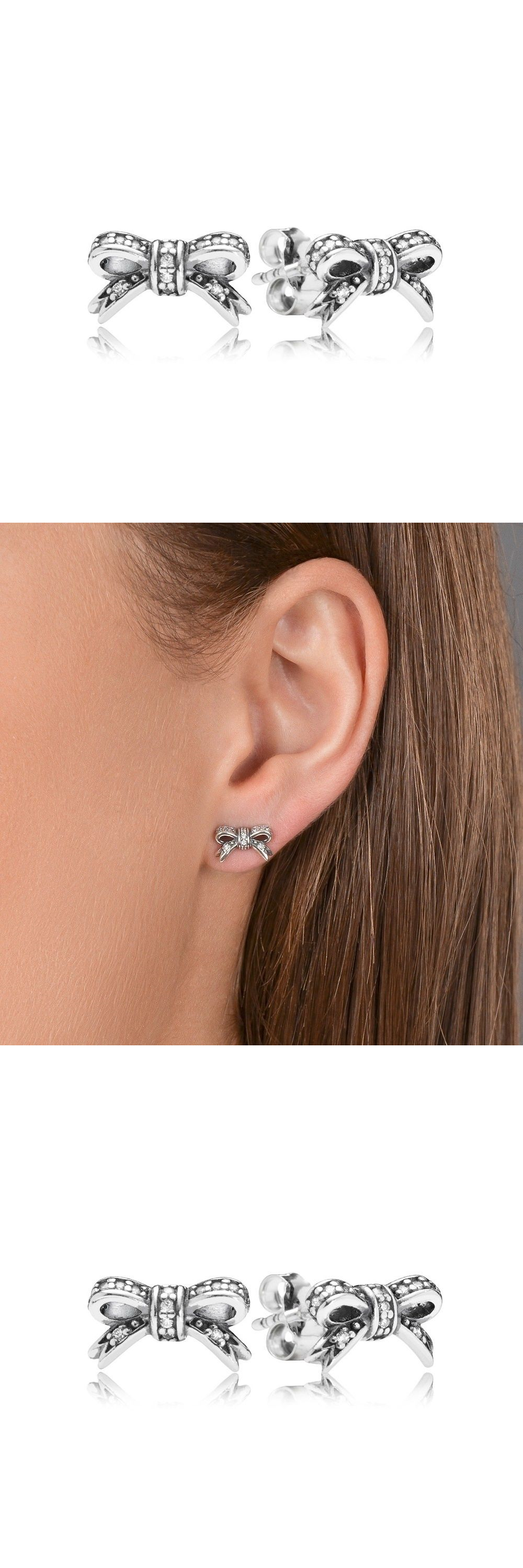 e93c0b1fb Earrings 50647: New! Authentic Pandora 925 Silver Sparkling Bow Stud  Earrings Clear Cz #290555Cz -> BUY IT NOW ONLY: $42 on eBay!