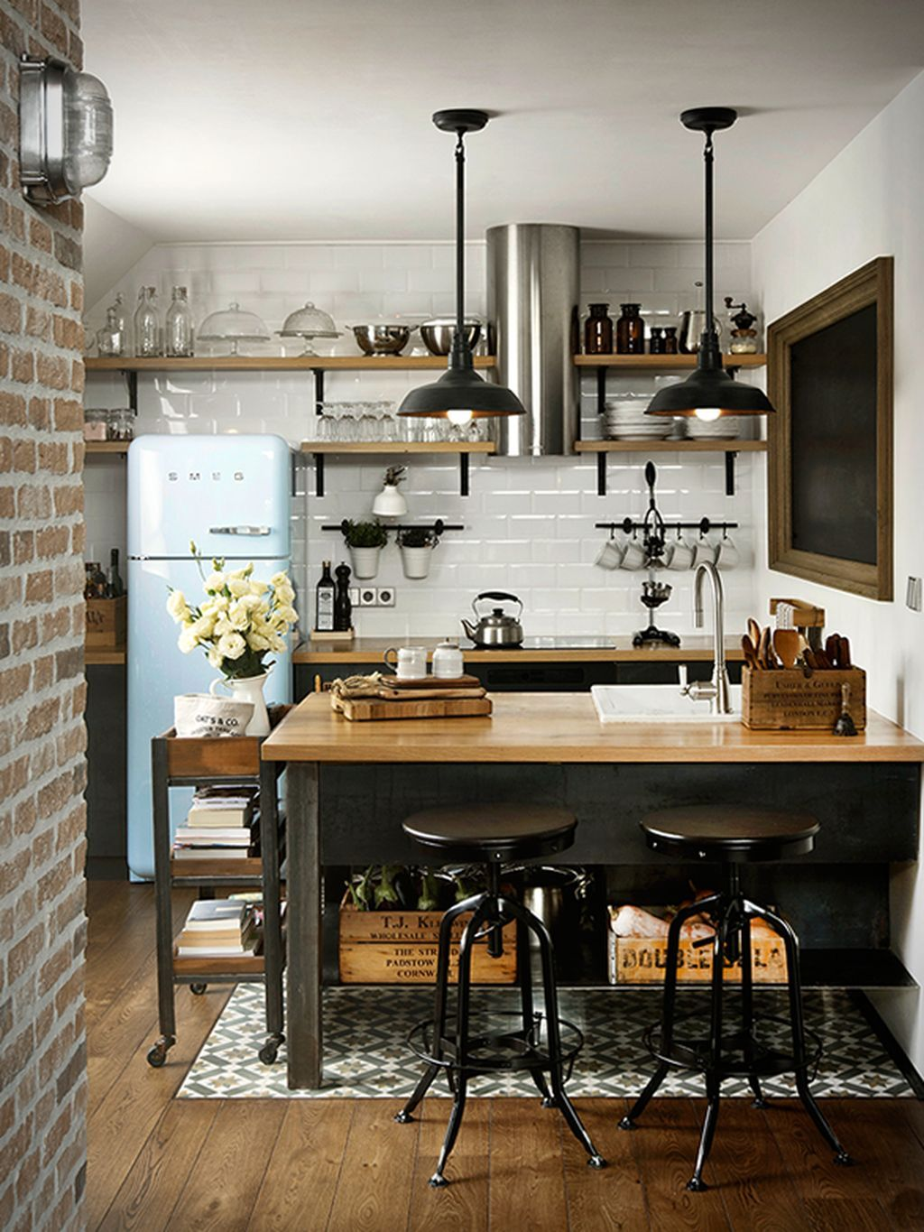 60 Small Modern Industrial Apartment Decoration Ideas Kitchen