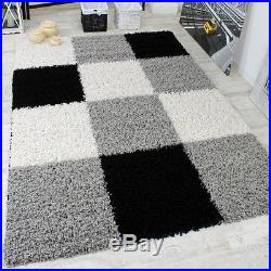 Large Black White Shaggy Rug Long Pile White Checkered Carpet Modern Quality Mat Black Carpet Checkered Large Long In 2020 Rugs In Living Room Black Rug Rug Size