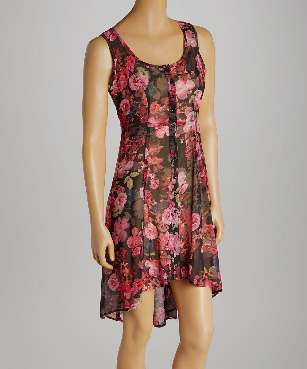Hem u thread black u pink sheer rose buttonup sleeveless dress by