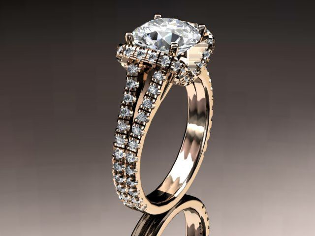 14kt rose gold diamond unique engagement ringwedding ring ADER107