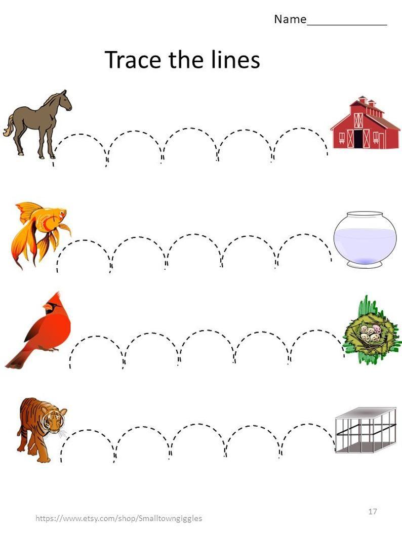 Tracing Worksheets Fine Motor Skill Activitiessorting Etsy Fine Motor Skills Activities Fine Motor Skills Skills Activities [ 1059 x 794 Pixel ]