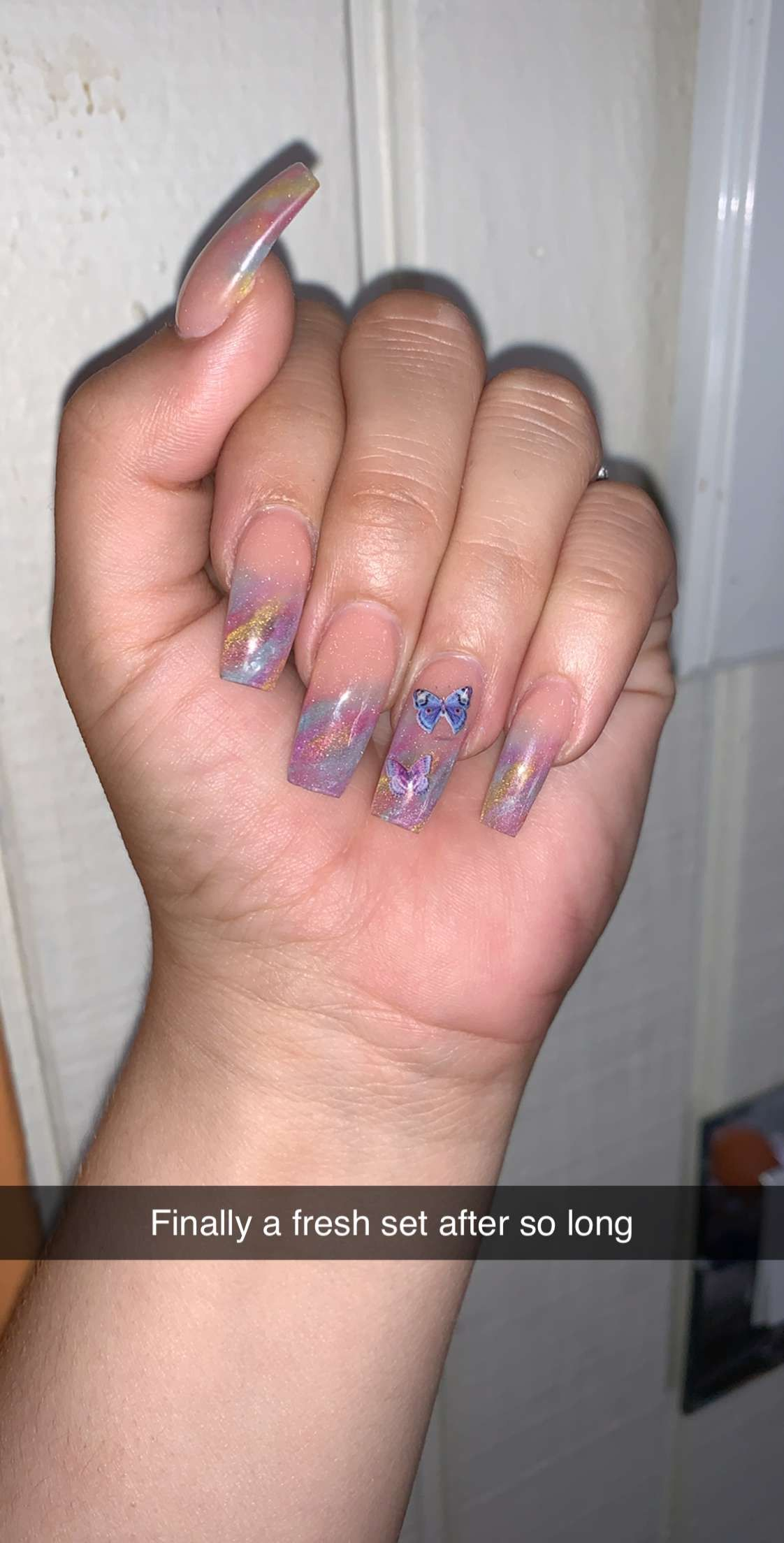 Rainbow butterfly nails in 2020 Butterfly nail, Nails