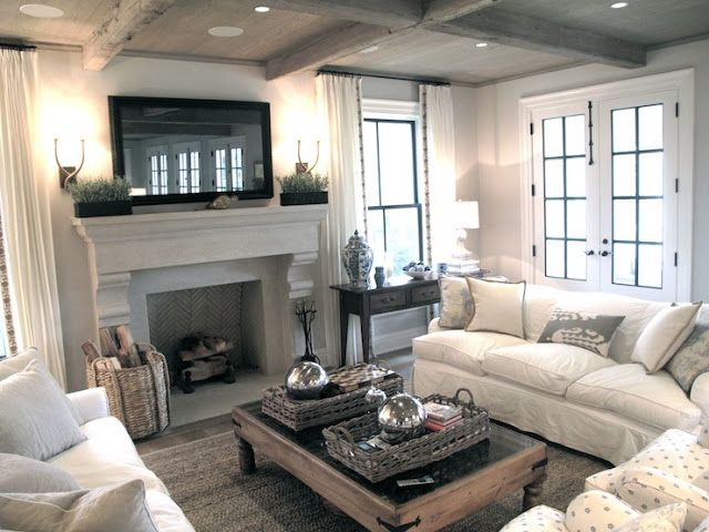 Wonderful Living Room Ideas · Like The Cream Sofas Facing Each Other, 2 Decorative,  Comfy Chairs On End Facing