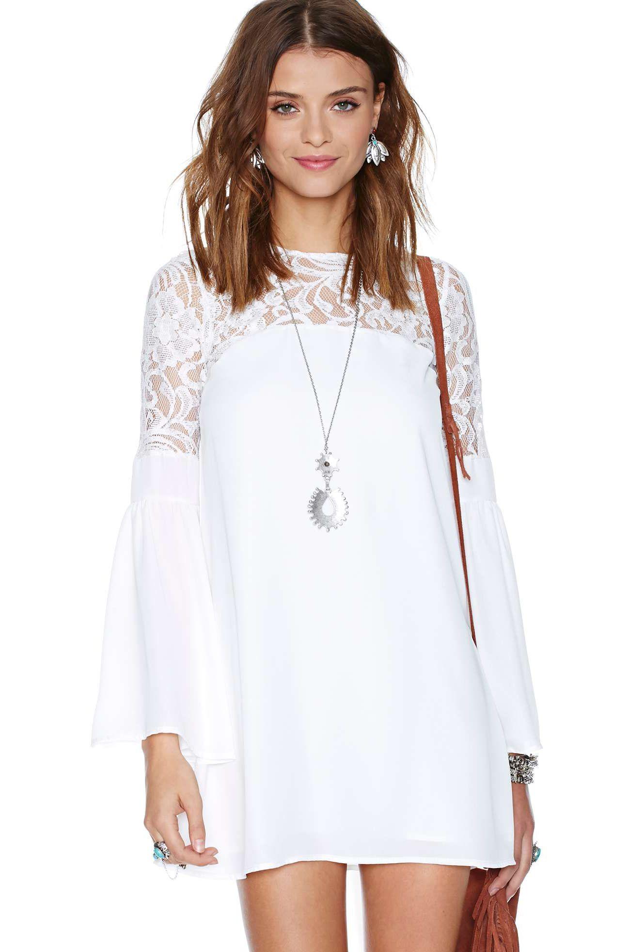 9a7059f1d5 Vestido Blanco encaje de manga larga contraste de cambio del hombro 20.79