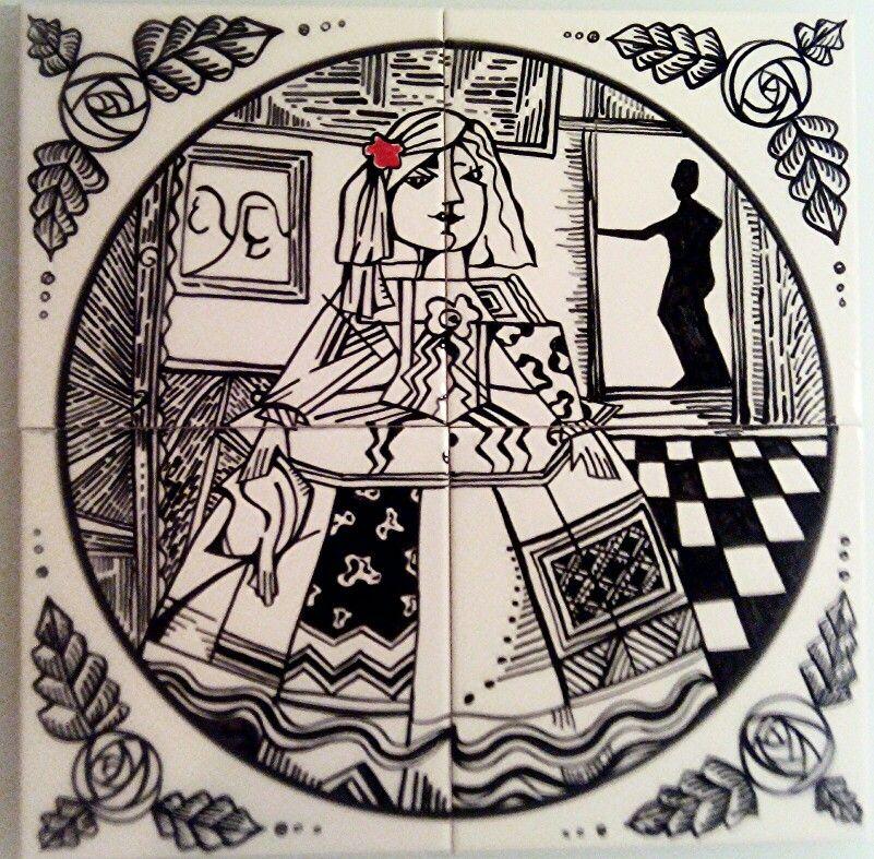 Velazquez's Menina style 2. Handpainted Ceramic Tiles.