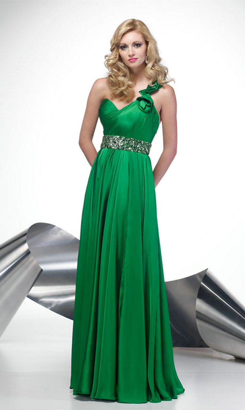 One Shoulder Sweetheart High Beaded Elegant Ruched Long Kelly Prom ...