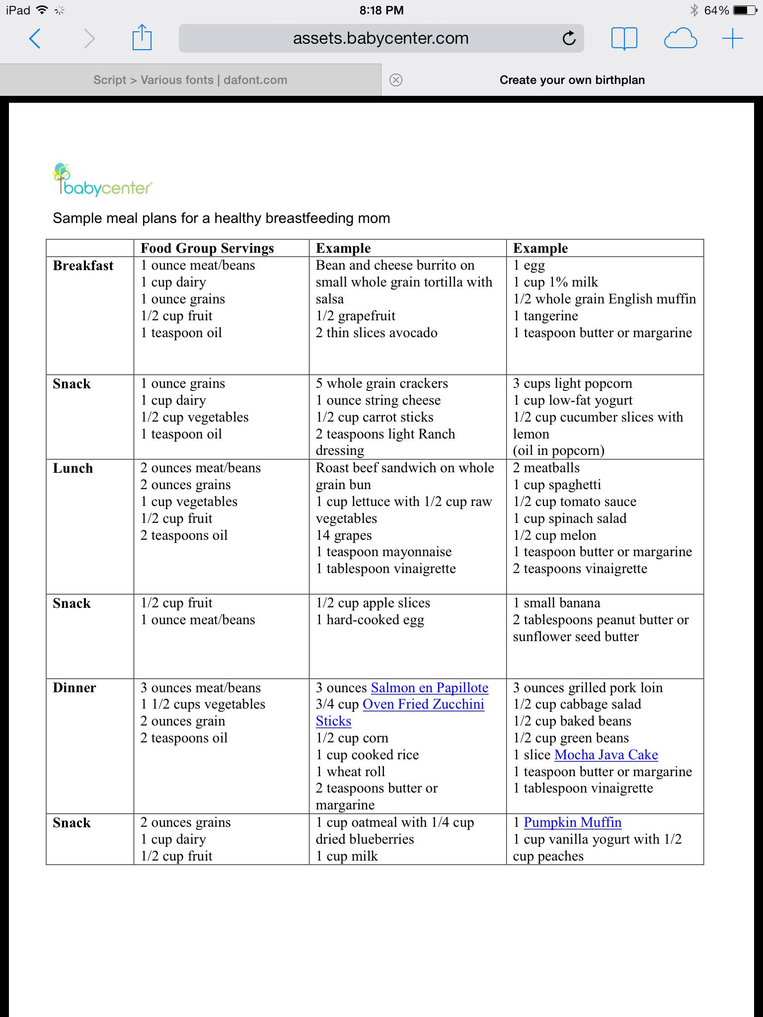 Sample Meal Plan For Breastfeeding Moms  Baby    Meals