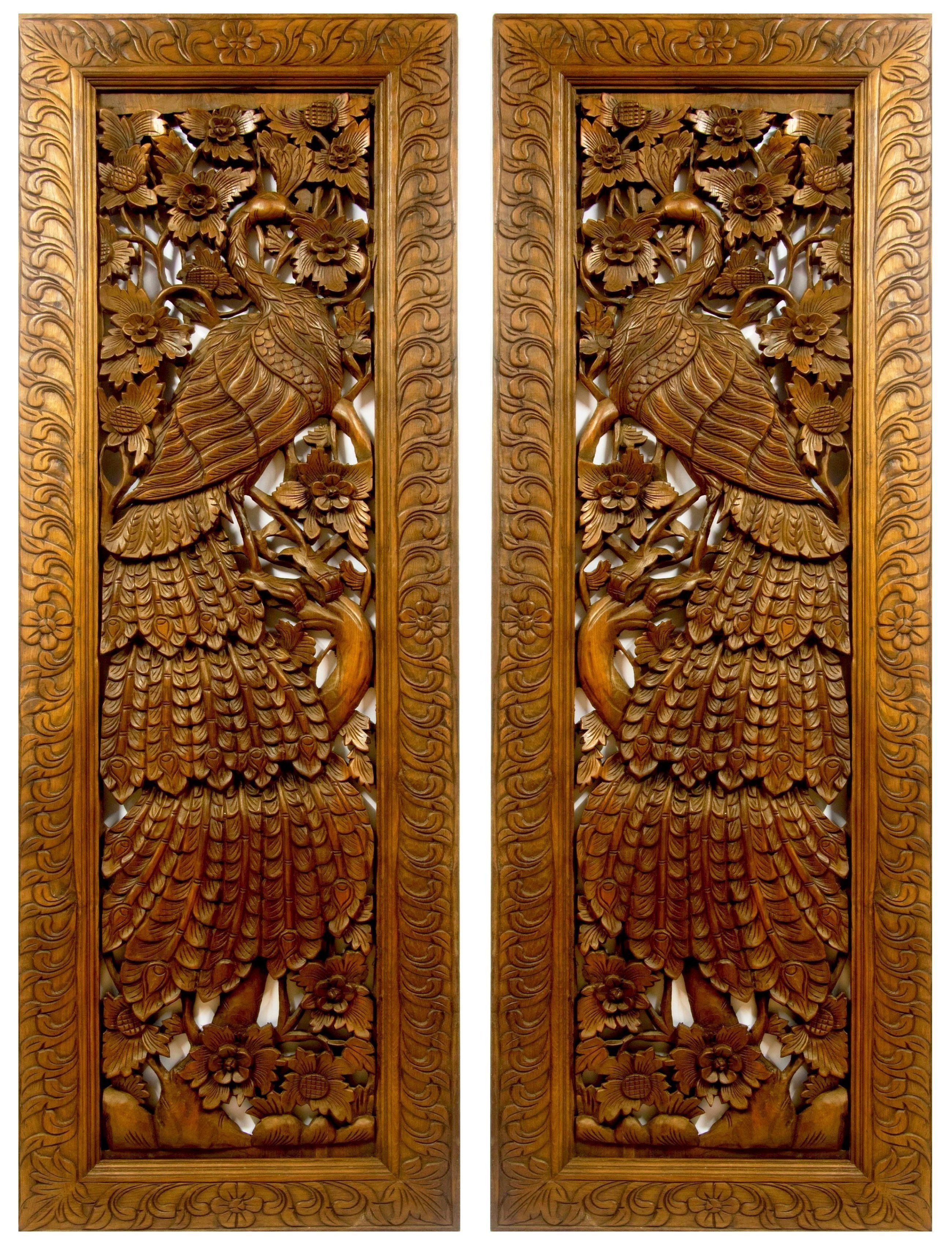 Giant Peacock 200 Cm 71 Inch Wood Carving Reclaimed