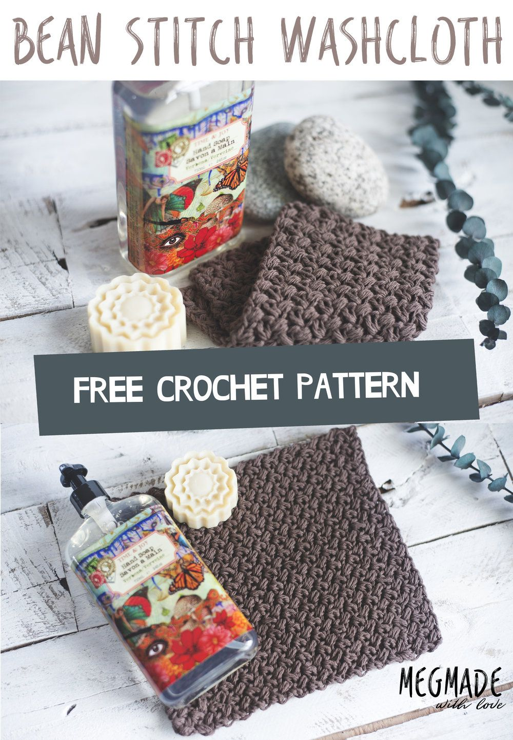 Free Crochet Pattern - Rustic Bean Stitch Washcloth - Megmade with ...