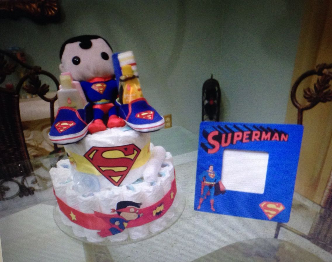 Baby Superman diaper cake and wooden picture frame