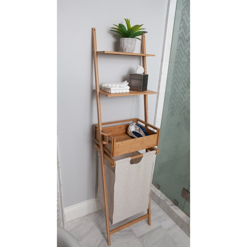 Ladder Shelf with 2 Storage Shelves /&1 Removable Laundry Bathroom Storage Shelf