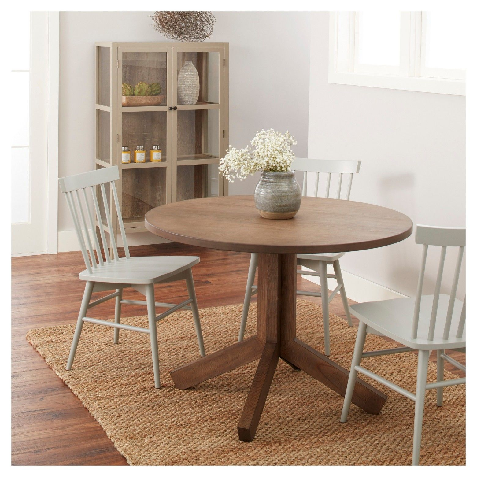 Newfield 42 Round Farmhouse Dining Table Gray Wash Threshold Dining Table Home Decor Target Home Decor
