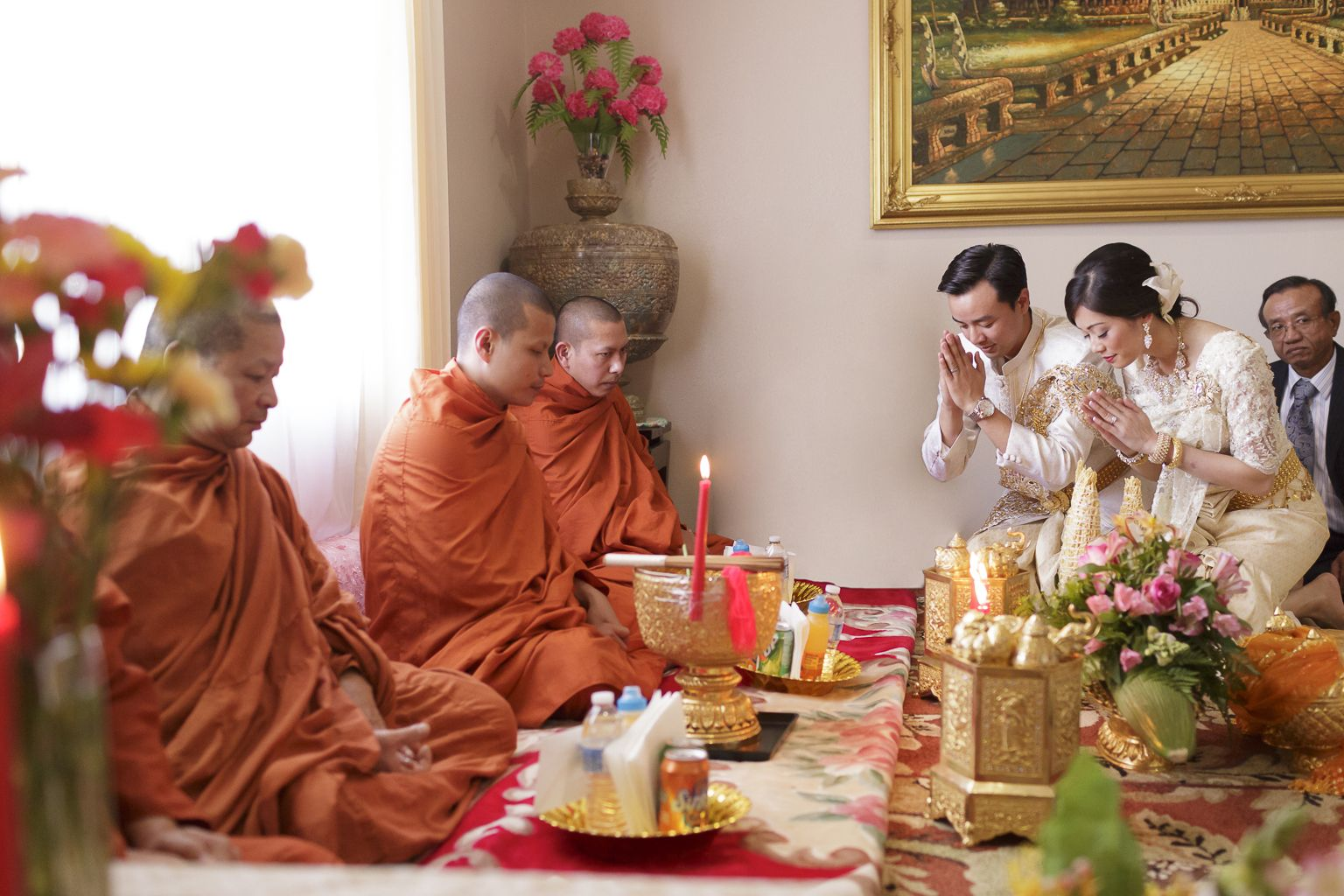 Monks give blessing for the newly wed