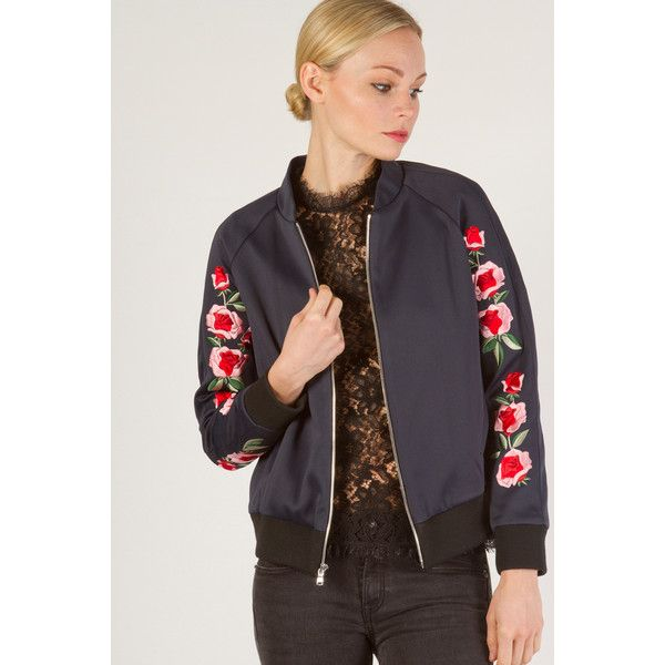 Frankie Embroidered Scuba Bomber Jacket ($895) ❤ liked on Polyvore featuring outerwear, jackets, all colors, fleece-lined jackets, bomber jacket, bomber style jacket, blouson jacket and long sleeve jacket
