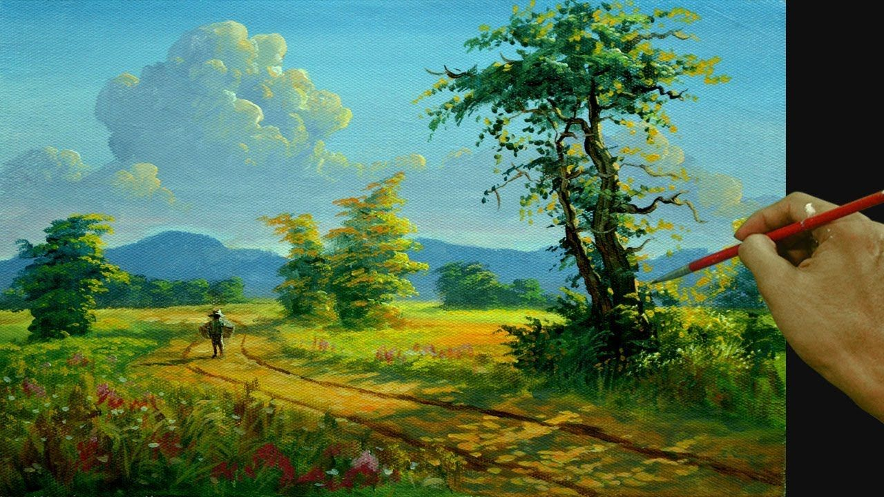 How To Paint Realistic Golden Landscape In Acrylic Afternoon Walk Youtube Landscape Painting Tutorial Painting Watercolor Art Lessons