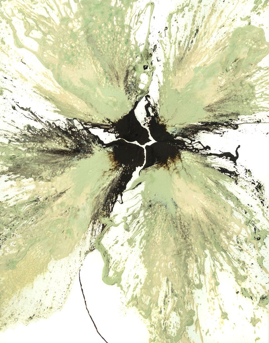 Floral art abstract flower painting original green wall