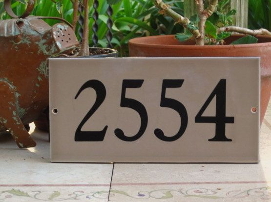 Tile House Numbers Taupe Ceramic Address By Cmbstudio