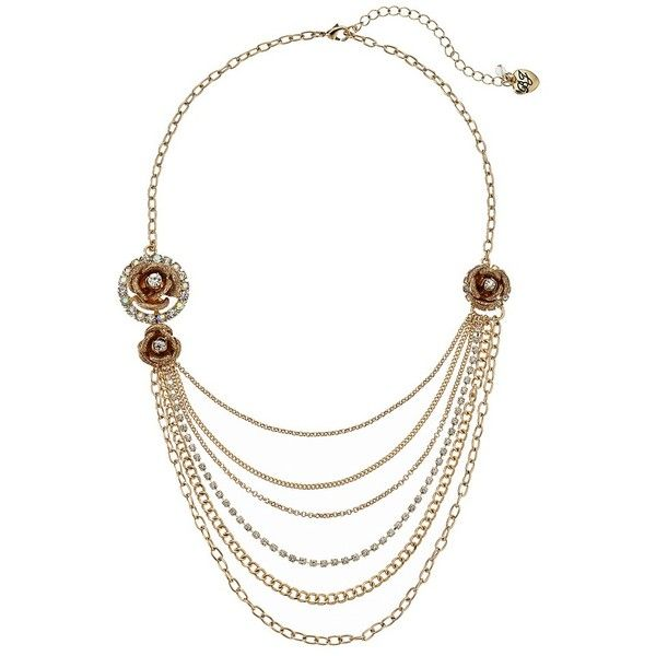 Betsey Johnson Luminous Betsey Rose Multi Row Necklace ($75) ❤ liked on Polyvore featuring jewelry, necklaces, chain necklaces, layered chain necklace, lobster claw clasp charms, adjustable chain necklace and betsey johnson jewelry