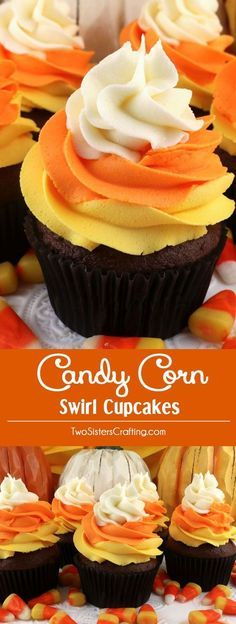 Candy Corn Swirl Cupcakes - these delicious Halloween Cupcakes looks like Candy Corn but tastes like chocolate cupcakes topped with delicious Buttercream Frosting. These yummy Halloween treats feature our Best Buttercream Frosting in Halloween colors and they are sure to become your go-to Halloween dessert. Pin this Halloween Cupcake for later and follow us for more great Halloween food ideas. #halloweencupcakes