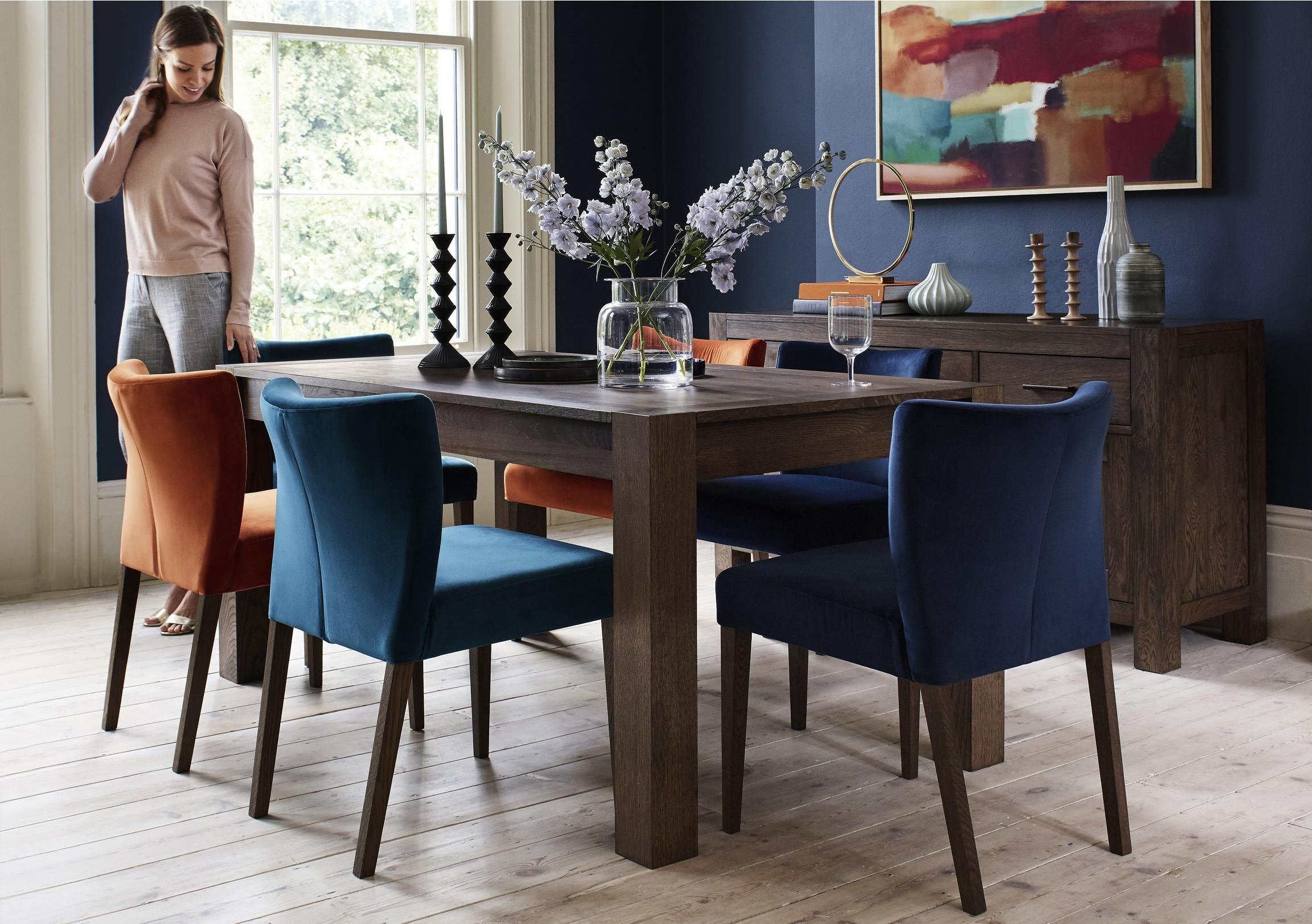 Havana Large Table And 4 Fabric Chairs Large Dining Table Contemporary Dining Sets Large Table