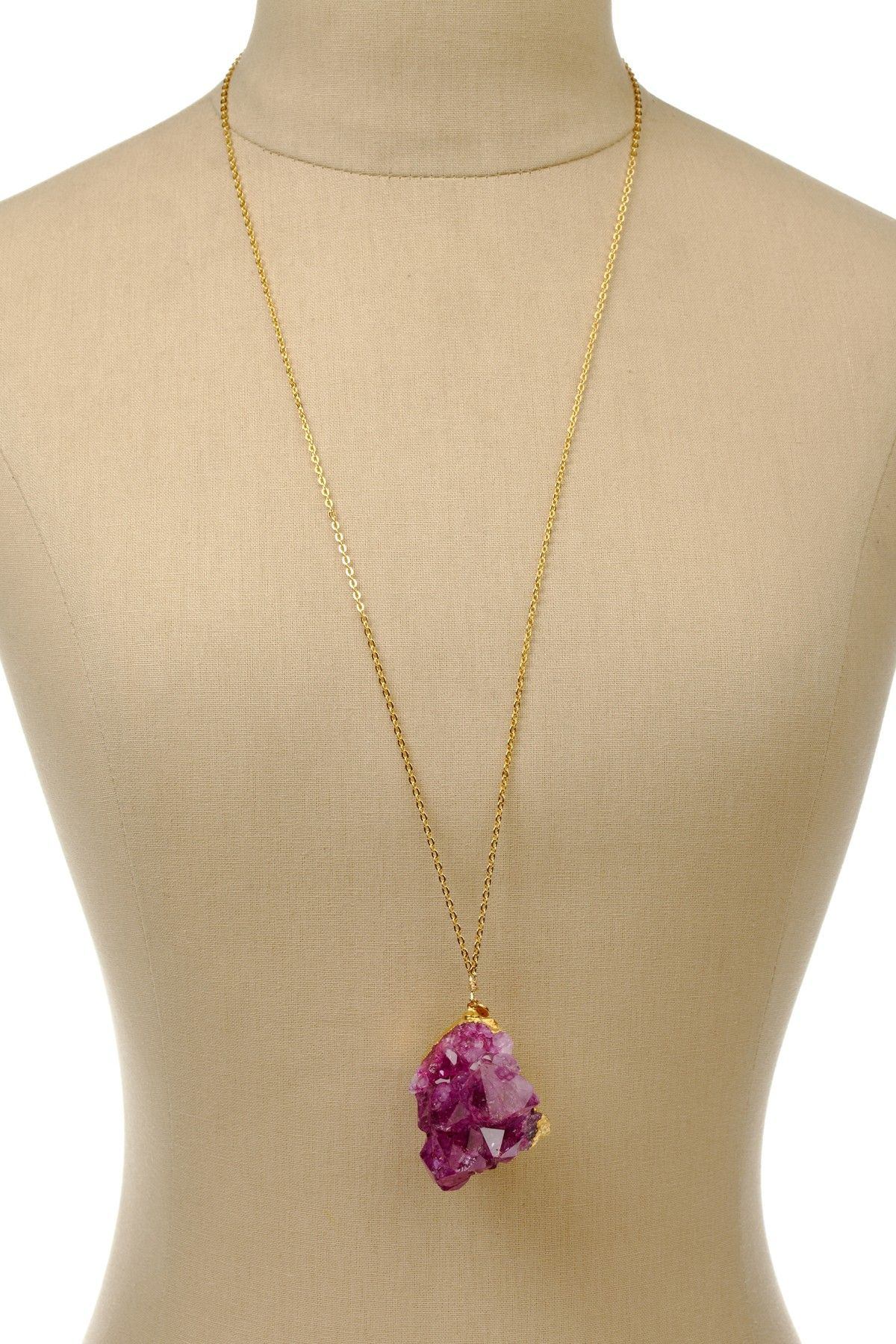 Dara Ettinger  Janet Dyed Amethyst Pendant Necklace. Mmm can't get enough crystals
