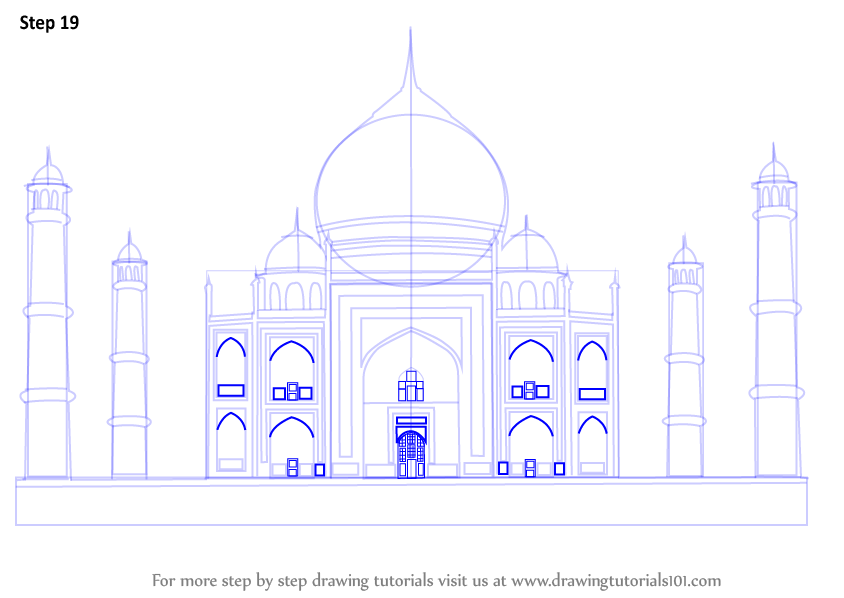 learn how to draw taj mahal wonders of the world step by step