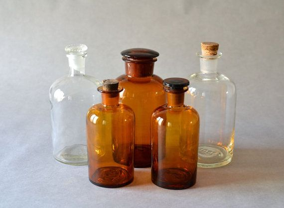 Vintage apothecary bottle pharmacy bottle brown by MightyVintage