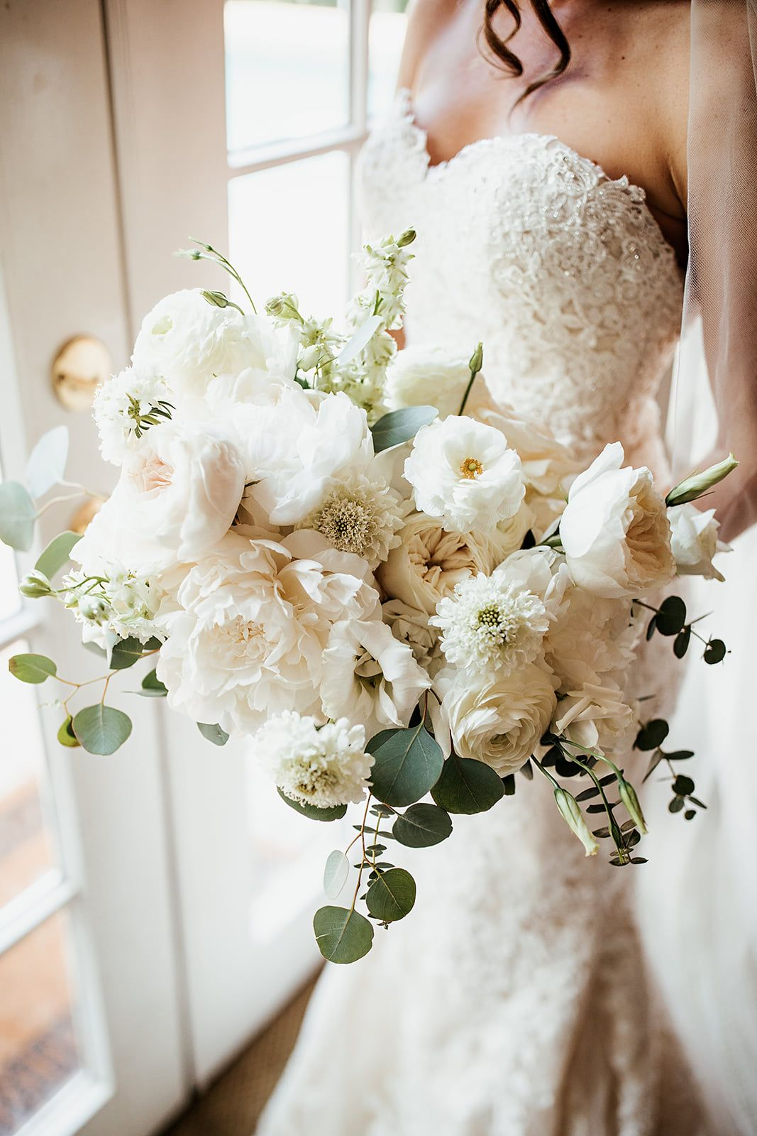 Large Unstructured Bridal Bouquet Of White Peony White Cloud