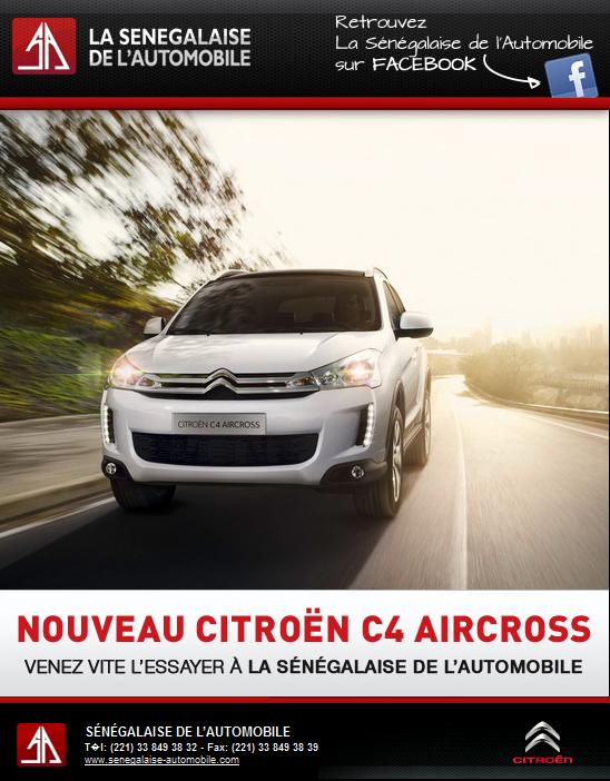 Newsletter du concessionnaire La Sénégalaise de l'Automobile pour le lancement de la Citröen C4 Aircross, août 2012.