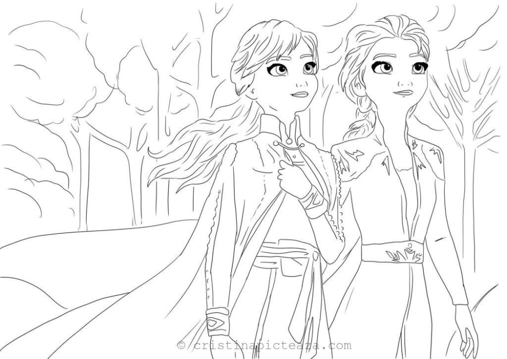 Coloring Pages With Elsa In White Dress Frozen 2 Cristina Is Painting Coloring Pages Color Painting