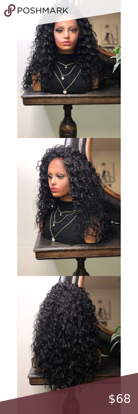 Asia Long Black Curly Hair Lace Front Wig In 2020 Lace Front Wigs Curly Hair Styles Black Curly Hair