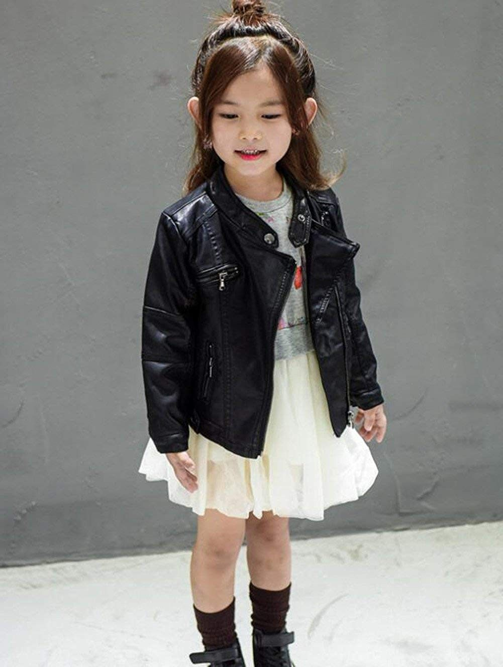 Kids Girl Faux Leather Jacket Coat Long Sleeve Moto Jacket Casual Pu Coats Black C8188t7xd7q Girls Clothing Online Faux Leather Jackets Girl Outfits [ 1328 x 1001 Pixel ]