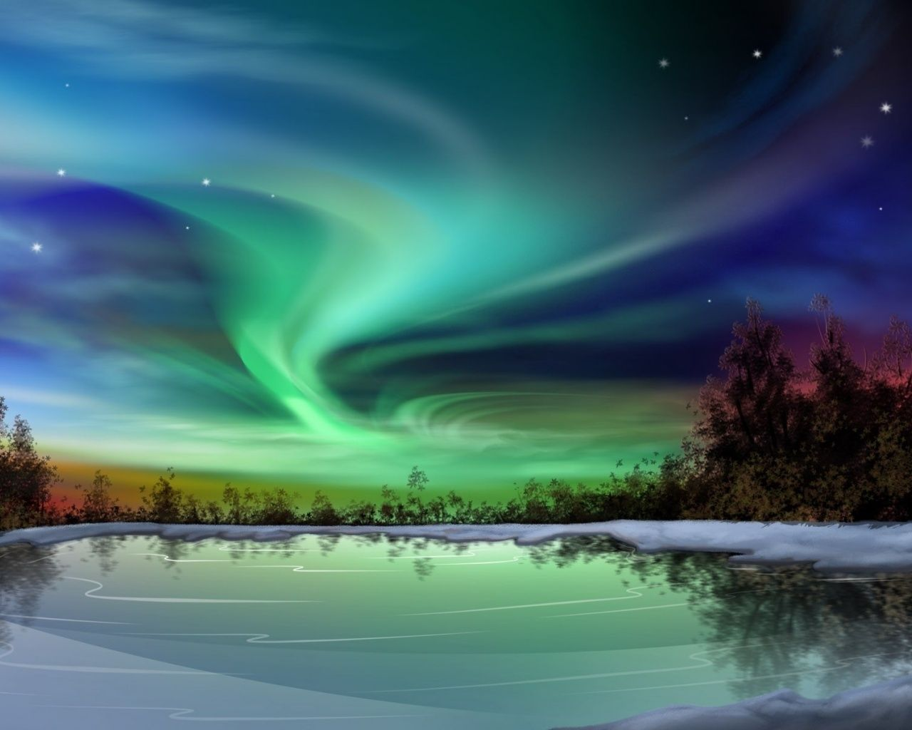 1280x1024 aurora borealis night winter fantasy game pinterest