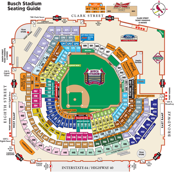 Busch Stadium Seating Map Cardinalscom Busch Stadium