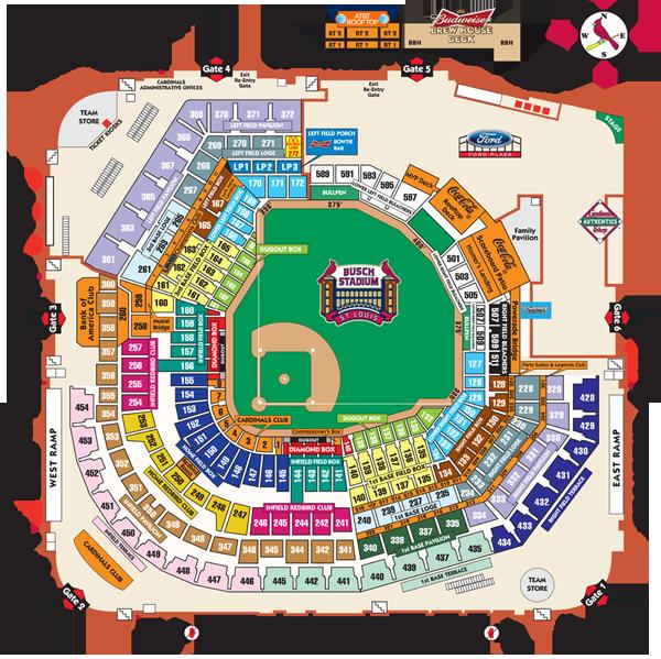 Busch stadium seating map cardinals com busch stadium go