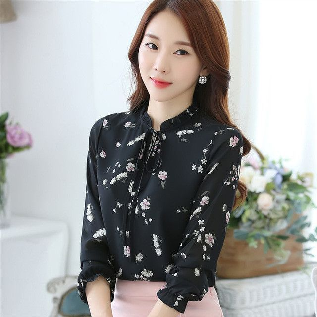 6c00576fb8123 Floral Print Shirt Plus Size Autumn 2016 Women Long Sleeve Chiffon Blouse  Bow Ruffle Korean Clothing Casual Ladies Office Tops