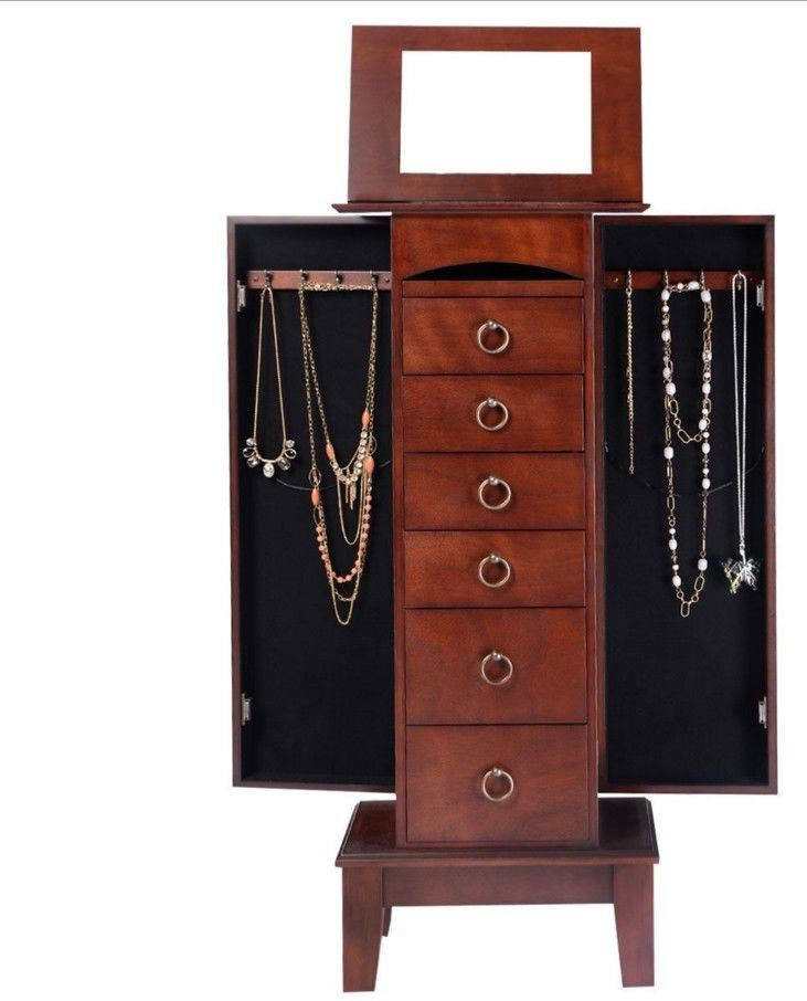 Stand Up Jewelry Box Mirrored Armoire Cabinet Wooden Storage Chest