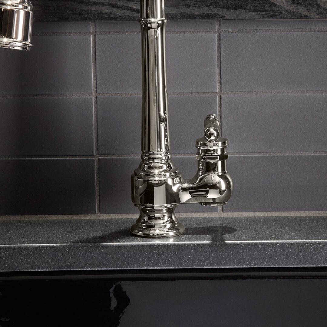 With a unique offset-handle design, this Artifacts faucet handle ...
